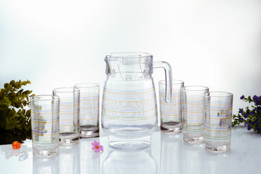 display image 0 for product Glass Whiteline Water Set, 7pieces