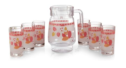 display image 1 for product Glass Water Set, Orange Blossom Design, 7pieces