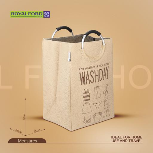 display image 1 for product Royalford Cloth Laundry Bag, 35X30X55Cm - Large Laundry Bag With Grip Handle & Single Compartment