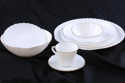 display image 4 for product 40 Piece Dinner Set, Beautiful Shell Design with Gold Rim, Stylish Square Plates, Durable and Economical, Perfect for Dining and Gifting