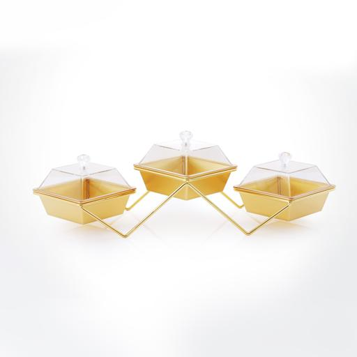 display image 0 for product Royalford 3 Pcs Acrylic Candy Bowl With Metal Stand