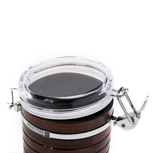 display image 8 for product Royalford Stainless Steel Coffee Container Storage, Cherrywood Kitchen Storage Jars With Durable Lock