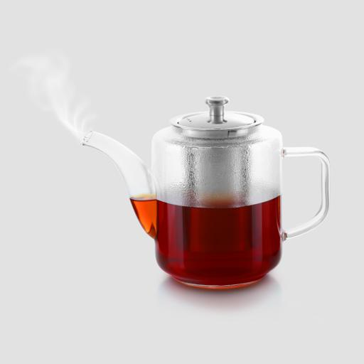 display image 1 for product Royalford 960 Ml Glass Tea Pot With Stainless Steel Strainer