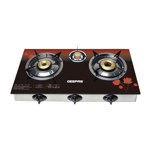 Geepas 3-Burner Gas Cooker Size 70Mm, 40Mm & 90Mm Respectively - Ergonomic Design, Automatic hero image