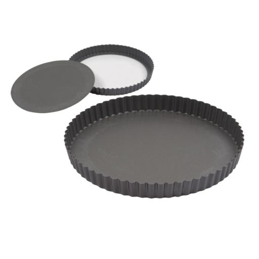 display image 3 for product Royalford Non-Stick Quiche Pan - Durable Aluminium Material, Tin, Grey, Base Layer Non-Stick Baking