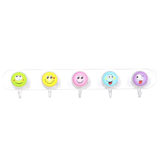Delcasa 5Pcs Sticky Hooks -Attractive Smiley Design Hooks - Self Adhesive Bathroom Towel Hanger hero image