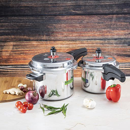 display image 0 for product Royalford 5 & 3 Litre Aluminum Pressure Cooker - Comfortable Handle Evenly Heating Cooker