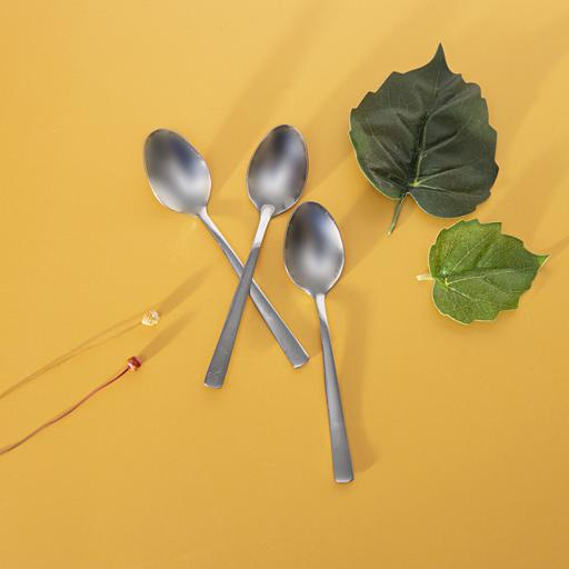 display image 2 for product Royalford 3Pcs Tea Spoon 2Mm - Plain Pattern Cutlery, Dishwasher Safe, Mirror Polished