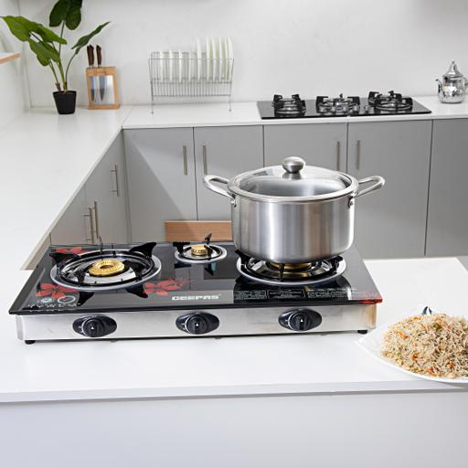 Geepas Triple Burner Gas Cooker With Tempered Glass Top hero image