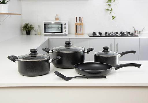 display image 1 for product Royalford 8 Pcs Non-Stick Cookware Set - Comfortable Heat Resistant Handles Scratch Resistant