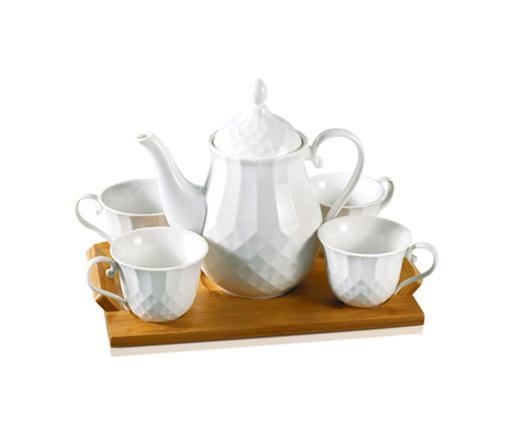 display image 0 for product Royalford Porcelain Tea Set With Bamboo Tray