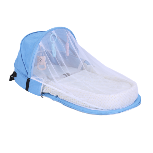 Baby Plus BP9076 - Portable Folding Baby CribBaby Bed Bag, Lightweight Foldable New-Born Travel Crib Carry-on | Mesh Net Nursery Bed Canopy Travel Bed |Infant Sleeper Lounger Bag, Bug Net hero image
