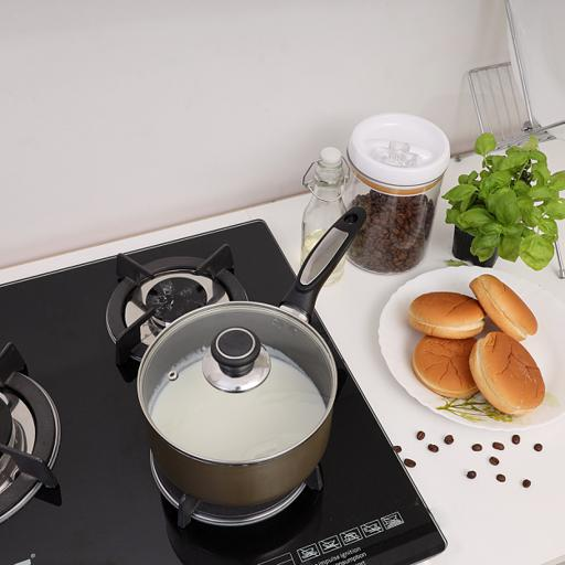 display image 7 for product Royalford 20Cm Non-Stick Enamel Aluminium Saucepan With Glass Lid - Portable Cool Touch Handle