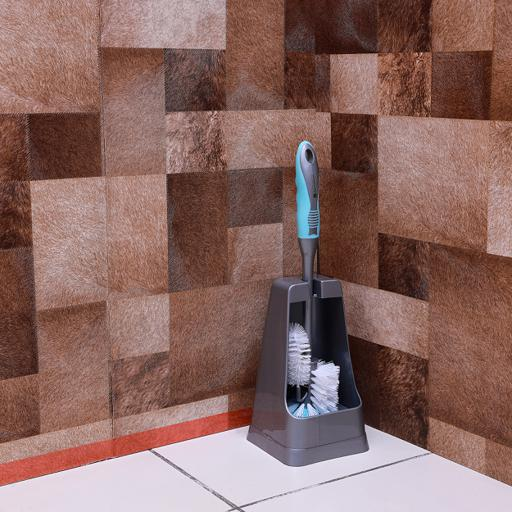 display image 2 for product Royalford Toilet Brush With Holder - One Click Series Toilet Brush With Holder - Easy Storage