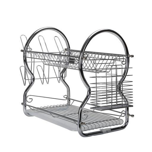 display image 3 for product Royalford 2 -Tier Stainless Steel Dish Drainer Rack - Utensil Holder, Drying Rack, With Plastic Tray