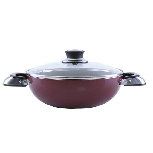 display image 5 for product Royalford Aluminium Wok Pan With Glass Lid, 22 Cm - Induction Safe Frying Pan With Durable Non-Stick