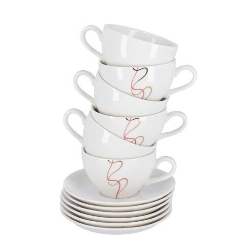 display image 4 for product Royalford 12Pcs Bone China Round Cup & Saucer Set – Ideal For Daily Use – Non-Toxic, Ecologically