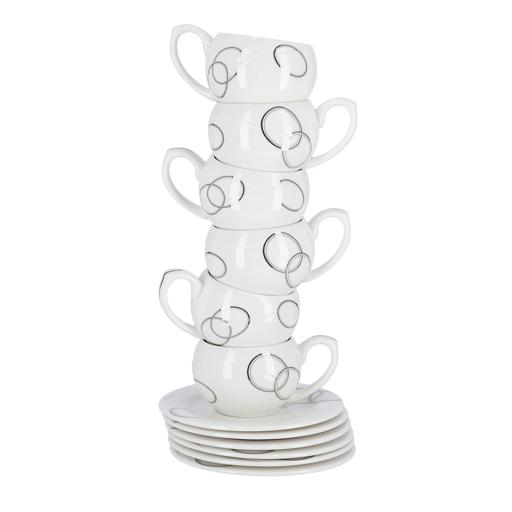 display image 7 for product Royalford New Bone China Cup & Saucer Set, 6 Pcs - Ideal For Daily Use - Non-Toxic, Ecologically