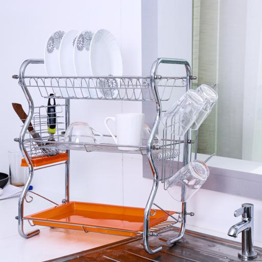 display image 2 for product Royalford 3-Layer Dish Rack With Cutlery Holder - Multi-Purpose Detachable Draining Board With Drip