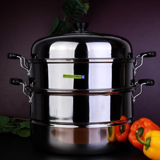 display image 1 for product Royalford 9L 2 Layer Stainless Steel Steamer - Steamer Pot, Heat Resistant With Durable & Comfortable