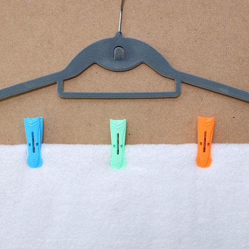 display image 0 for product Royalford Multi-Purpose 12 Pieces Cloth Clip- Hanger Clips, Slim-Line Plastic Finger Clips Clothes