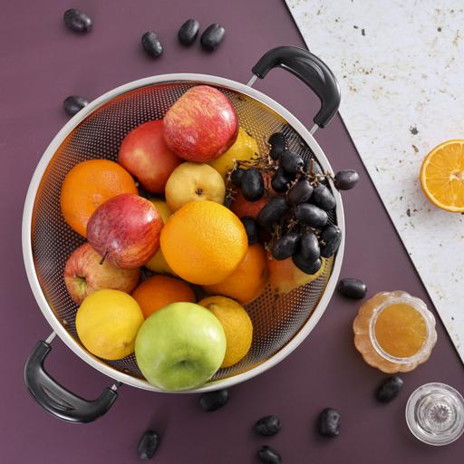 display image 2 for product Royalford Stainless Steel Micro-Perforated Colander - 28.5 Cm Professional Colander For Food Fruit
