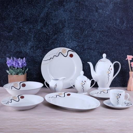 display image 1 for product Royalford 49Pcs Porcelain Dinner Set - Design Plates, Bowl, Pot, Cups & Saucer