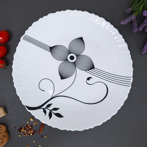 """display image 3 for product Royalford 10.5"""" Opal Ware Art Flower Dinner Plate - Pasta Plate Made With Durable Material"""