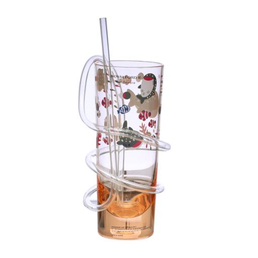 display image 4 for product Royalford Transparent Acrylic Glass With Straw - Drinking Tube Straw Resistant Glass Clear Juice Cup