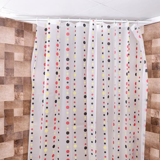display image 1 for product Royalford Peva Shower Curtain 200 X 200Cm - Portable Lightweight Fabric Bathroom Decor Set With Hook