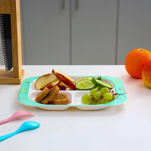 display image 2 for product Royalford Melamine Ware 3-Section Rectangular Baby Plate, 25.6X18.8X2 Cm